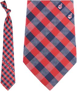 Eagles Wings MLB Indians Woven Poly Check Tie
