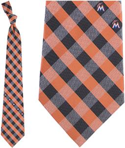 Eagles Wings MLB Marlins Woven Poly Check Tie
