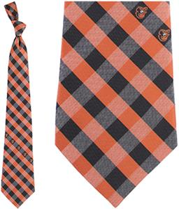 Eagles Wings MLB Orioles Woven Poly Check Tie