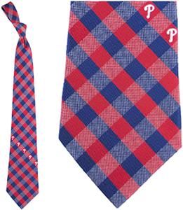 Eagles Wings MLB Phillies Woven Poly Check Tie