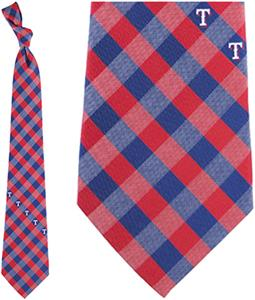 Eagles Wings MLB Rangers Woven Poly Check Tie