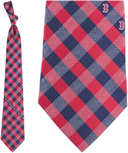 Eagles Wings MLB Red Sox Woven Poly Check Tie