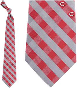 Eagles Wings MLB Reds Woven Poly Check Tie
