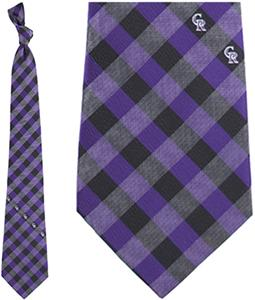 Eagles Wings MLB Rockies Woven Poly Check Tie