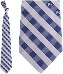 Eagles Wings MLB KC Royals Woven Poly Check Tie