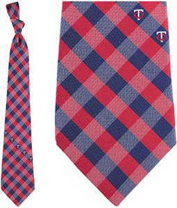 Eagles Wings MLB Twins Woven Poly Check Tie