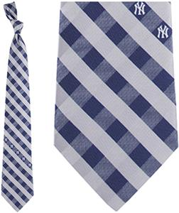 Eagles Wings MLB Yankees Woven Poly Check Tie