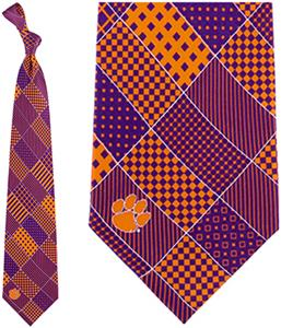 Eagles Wings NCAA Clemson Tigers Patchwork Tie