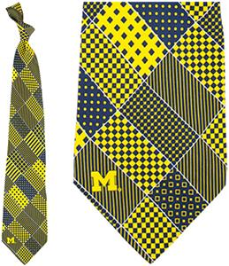 Eagles Wings NCAA Michigan Wolverine Patchwork Tie