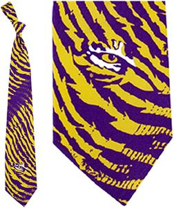 Eagles Wings NCAA LSU Tigers Stripes Tie
