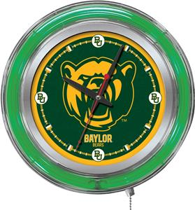 Holland Baylor University Neon Logo Clock