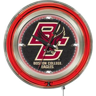 Holland Boston College Neon Logo Clock