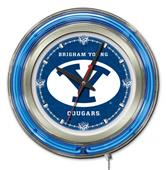 Holland Brigham Young University Neon Logo Clock