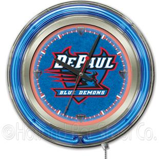 Holland DePaul University Neon Logo Clock