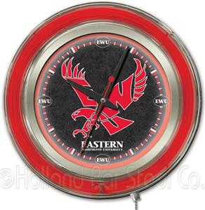Holland Eastern Washington Univ Neon Logo Clock