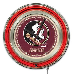Holland Florida State Head Neon Logo Clock