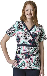 WonderWink Floral Frames Mock Wrap Scrub Top