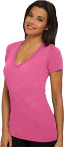 Next Level Pink Women's Tri-Blend Deep V- T-Shirts