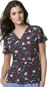 WonderWink Hieroglyphics V-Neck Scrub Top