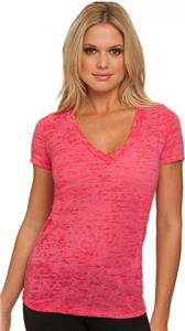 Next Level Pink Women's Burnout Deep V T-Shirts