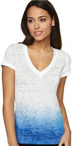 Next Level Women's Ombre Burnout Deep V T-Shirts