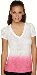 Next Level Pink Women's Ombre Burnout Deep V Shirt