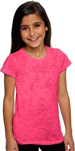 Next Level Pink Girl's Princess Burnout Tee Shirts