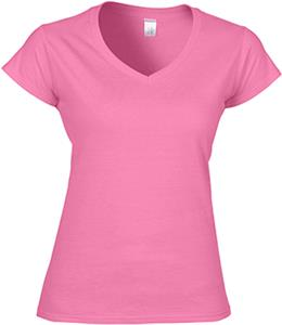 Gildan Pink Softstyle Junior Fit V-Neck T-Shirts