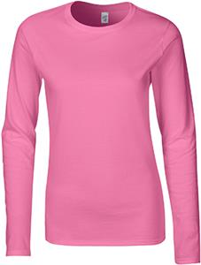 Gildan Pink Softstyle Jr Fit Long Sleeve T-Shirts