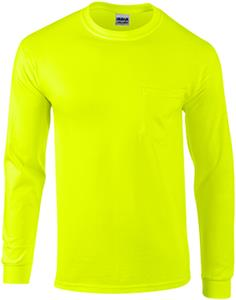 Gildan Adult Long Sleeve Safety T-Shirts w/ Pocket