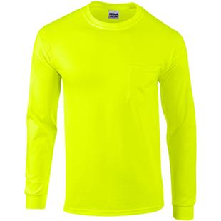 Gildan Adult Long Sleeve Safety T-Shirts w/ Pocket