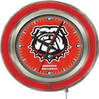 Holland Univ Georgia Bulldog Neon Logo Clock