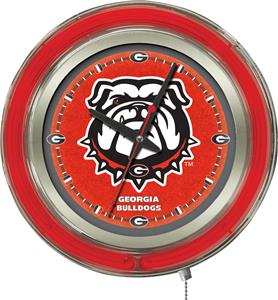 Holland Univ Georgia Bulldog Neon Logo Clock