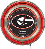Holland Univ Georgia G Neon Logo Clock