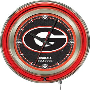 Holland Univ Georgia G Neon Logo Clock
