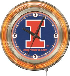 Holland University of Illinois Neon Logo Clock