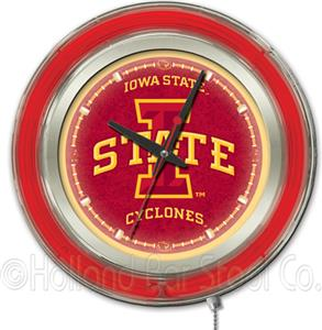 Holland Iowa State University Neon Logo Clock