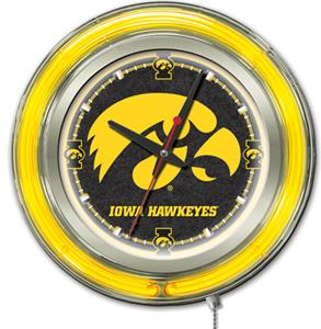 Holland University of Iowa Neon Logo Clock