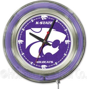 Holland Kansas State University Neon Logo Clock