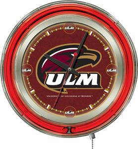 Holland Univ of Louisiana Monroe Neon Logo Clock