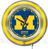 Holland University of Michigan Neon Logo Clock
