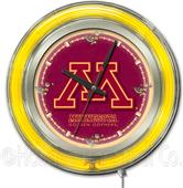 Holland University of Minnesota Neon Logo Clock