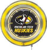 Holland Michigan Tech University Neon Logo Clock