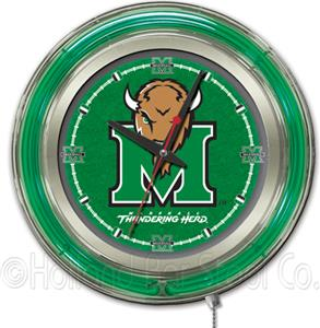 Holland Marshall University Neon Logo Clock
