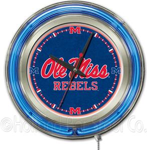 Holland University of Mississippi Neon Logo Clock