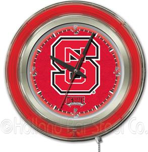 Holland North Carolina State Univ Neon Logo Clock