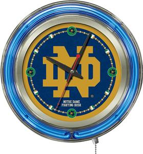 Holland Notre Dame ND Neon Logo Clock