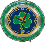 Holland Notre Dame Shamrock Neon Logo Clock