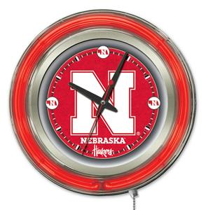 Holland University of Nebraska Neon Logo Clock