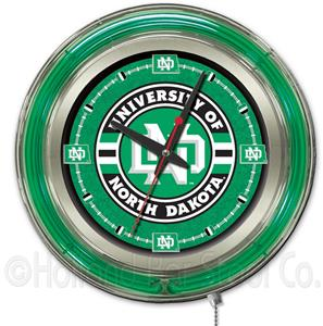Holland University of North Dakota Neon Logo Clock